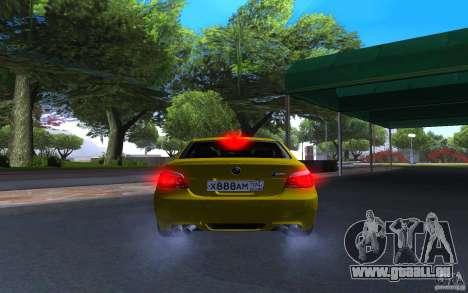 BMW M5 Gold Edition pour GTA San Andreas vue arrière