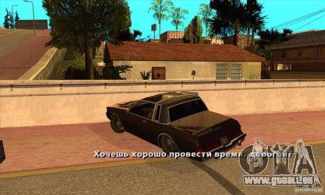 God car mod pour GTA San Andreas deuxième écran