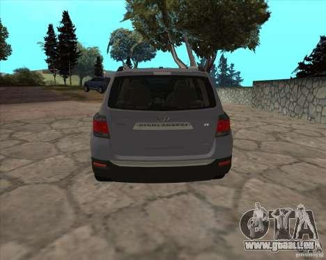 Toyota Highlander pour GTA San Andreas sur la vue arrière gauche
