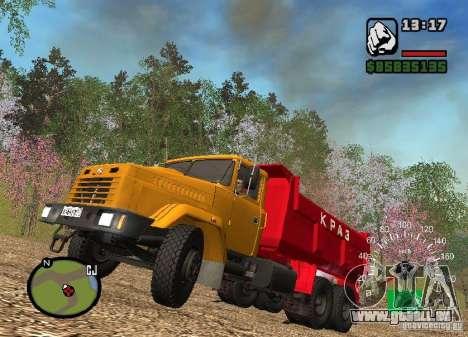 Camion KrAZ 65055 pour GTA San Andreas vue intérieure