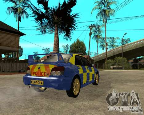 Subaru Impreza STi police pour GTA San Andreas sur la vue arrière gauche
