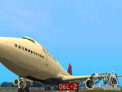 Boeing 747-400 Delta Airlines für GTA San Andreas Innenansicht