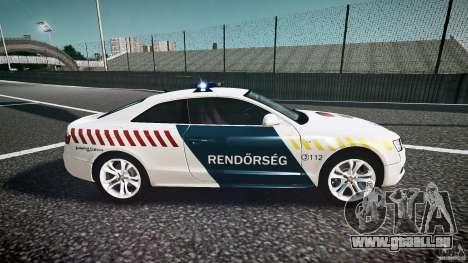Audi S5 Hungarian Police Car white body pour GTA 4 est une vue de l'intérieur