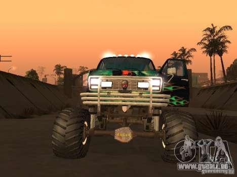 Ford Grave Digger pour GTA San Andreas sur la vue arrière gauche