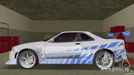 Nissan Skyline R-34 2Fast2Furious für GTA Vice City linke Ansicht