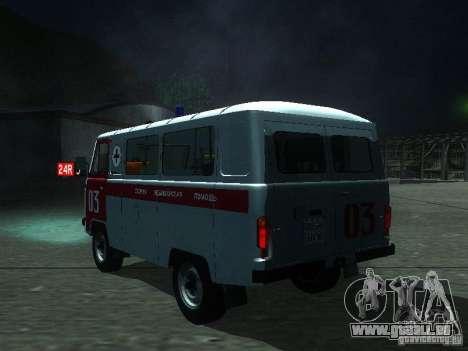 UAZ 3962 ambulance pour GTA San Andreas sur la vue arrière gauche