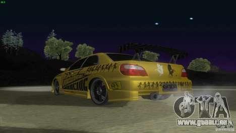 Subaru Impreza WRX No Fear pour GTA San Andreas vue arrière