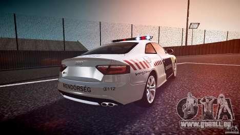 Audi S5 Hungarian Police Car white body pour GTA 4 est un côté