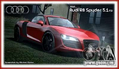 Audi R8 Spyder 2010 v 2.0 pour GTA 4