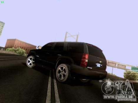 Chevrolet Tahoe 2009 Unmarked pour GTA San Andreas sur la vue arrière gauche