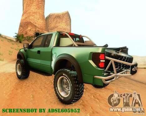 Ford F150 2011 SVT RapTor pour GTA San Andreas vue arrière