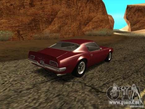 Pontiac Firebird 1970 pour GTA San Andreas sur la vue arrière gauche