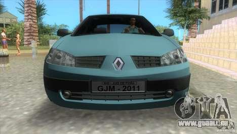 Renault Megane Sedan pour GTA Vice City sur la vue arrière gauche