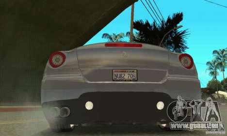Ferrari 599 GTB Fiorano (salon Orange) pour GTA San Andreas vue arrière