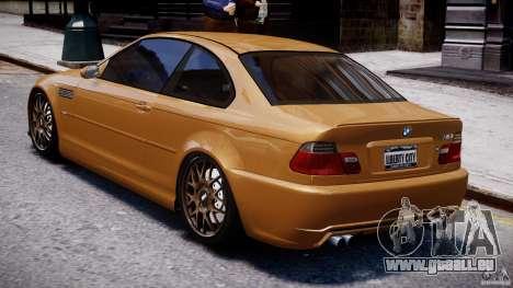 BMW M3 E46 Tuning 2001 v2.0 pour GTA 4 Vue arrière de la gauche