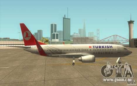 Boeing 737-800 THY für GTA San Andreas zurück linke Ansicht