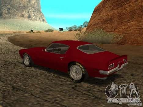 Pontiac Firebird 1970 pour GTA San Andreas laissé vue