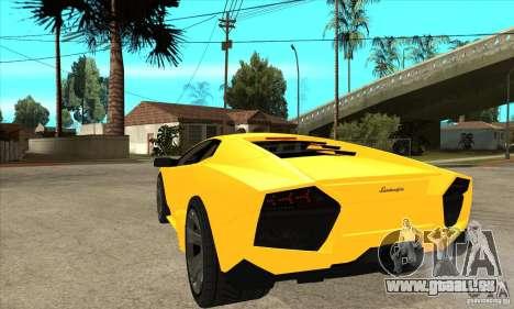 Lamborghini Reventon pour GTA San Andreas sur la vue arrière gauche