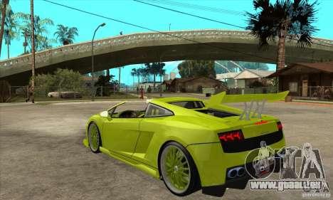 Lamborghini Gallardo LP560-4 Hamann für GTA San Andreas zurück linke Ansicht