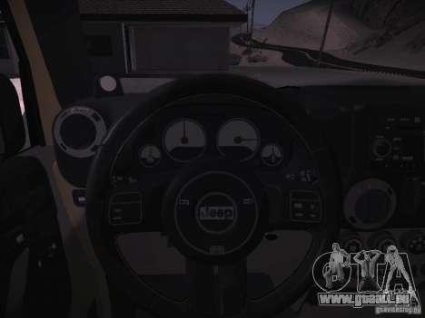 Jeep Wrangler Rubicon Unlimited 2012 pour GTA San Andreas vue intérieure
