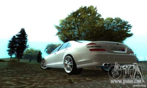 Mercedes-Benz S500 W221 Brabus für GTA San Andreas zurück linke Ansicht