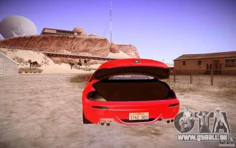 BMW M6 pour GTA San Andreas vue intérieure