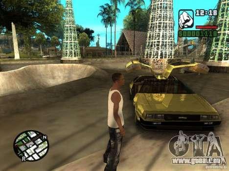 Golden DeLorean DMC-12 pour GTA San Andreas vue de droite