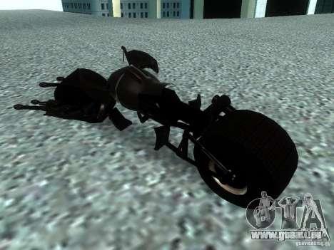 Batpod pour GTA San Andreas sur la vue arrière gauche