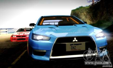 Mitsubishi Lancer Evo X Tuned für GTA San Andreas obere Ansicht