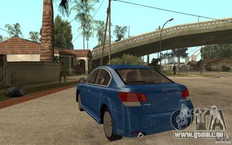 Subaru Legacy B4 2.5GT 2010 pour GTA San Andreas sur la vue arrière gauche