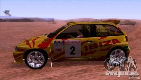 Seat Ibiza Rally pour GTA San Andreas vue de droite