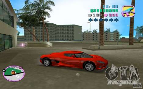 Koenigsegg CCX pour GTA Vice City sur la vue arrière gauche