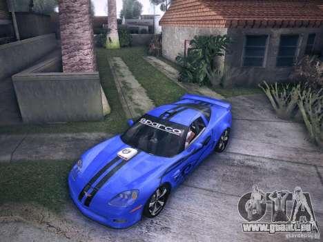 Chevrolet Corvette C6 Z06 Tuning pour GTA San Andreas vue de dessus