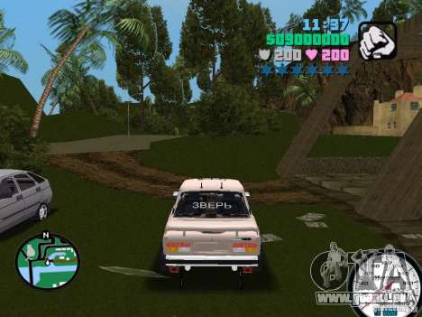 VAZ 2107 pour GTA Vice City sur la vue arrière gauche