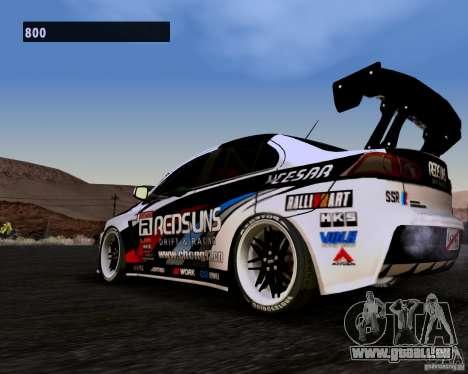 Mitsubishi Lancer Evo X 2008 pour GTA San Andreas sur la vue arrière gauche