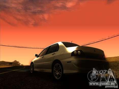 Mitsubishi Lancer Evolution IX MR pour GTA San Andreas vue de dessous