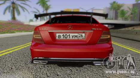 Mercedes Benz C63 AMG Black Series 2012 pour GTA San Andreas vue de dessus