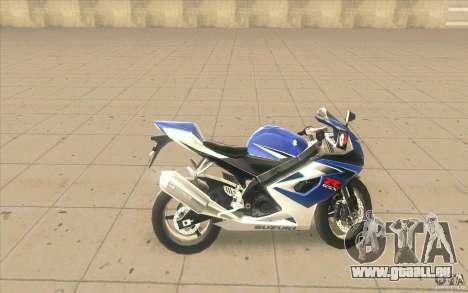 Suzuki GSXR 1000 pour GTA San Andreas laissé vue