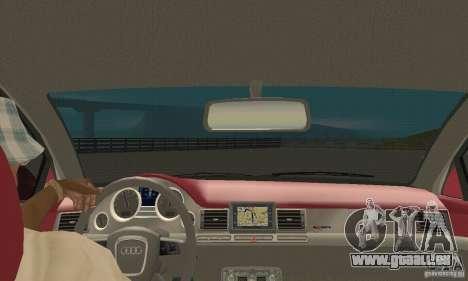 Audi A8L 4.2 FSI pour GTA San Andreas vue intérieure
