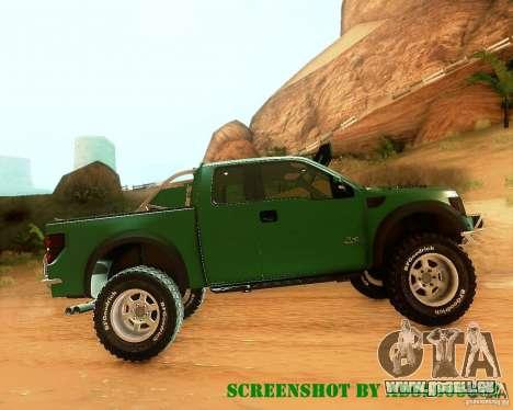 Ford F150 2011 SVT RapTor für GTA San Andreas obere Ansicht