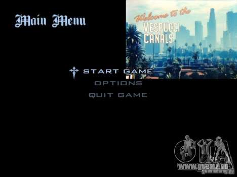 Le menu principal dans le style de GTA 5 pour GTA San Andreas