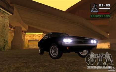 Dodge Challenger 1971 für GTA San Andreas Rückansicht