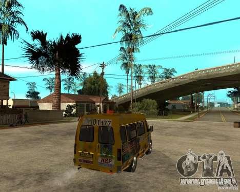 Gaz Gazelle 2705 Minibus pour GTA San Andreas sur la vue arrière gauche