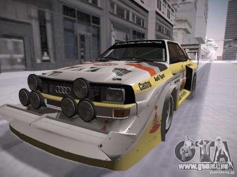 Audi Quattro Pikes Peak pour GTA San Andreas sur la vue arrière gauche