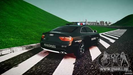 Audi S5 Hungarian Police Car black body pour GTA 4 Vue arrière de la gauche