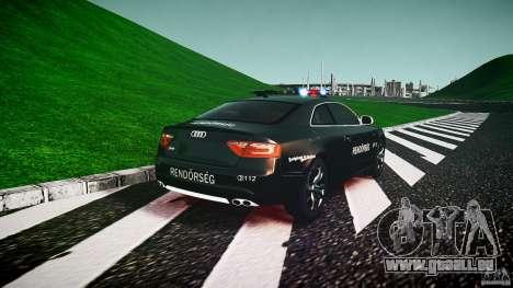 Audi S5 Hungarian Police Car black body für GTA 4 hinten links Ansicht
