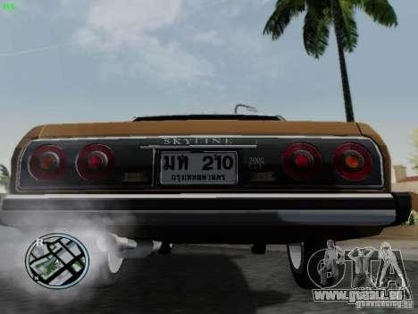 Nissan Skyline 2000GT C210 pour GTA San Andreas vue arrière