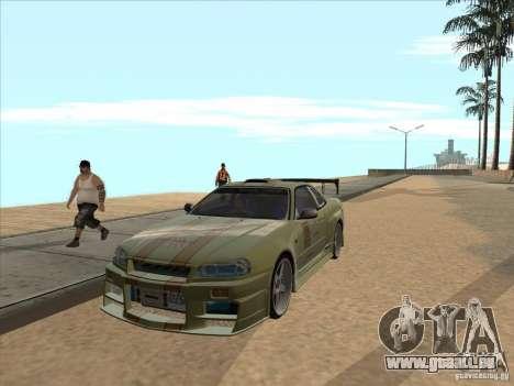 Nissan Skyline R34 VeilSide pour GTA San Andreas vue de dessus