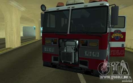 FIRETRUCK für GTA San Andreas Rückansicht