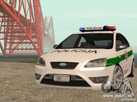 Ford Focus ST Policija für GTA San Andreas Rückansicht